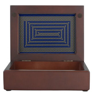 Gold And Blue Celtic Rectangular Spiral Memory Box