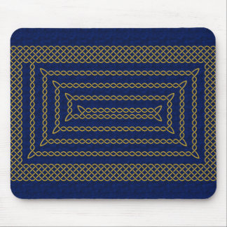 Gold And Blue Celtic Rectangular Spiral Mouse Pad