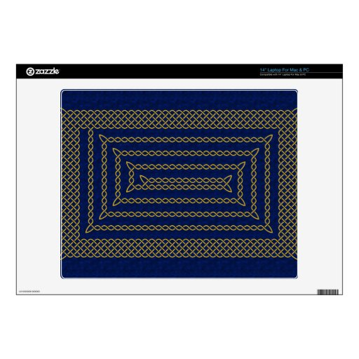 Gold And Blue Celtic Rectangular Spiral Laptop Skin