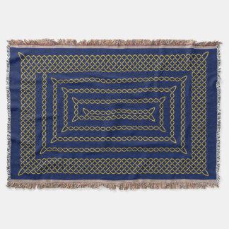 Gold And Blue Celtic Rectangular Spiral Throw Blanket