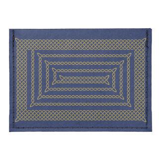 Gold And Blue Celtic Rectangular Spiral Tyvek® Card Case Wallet