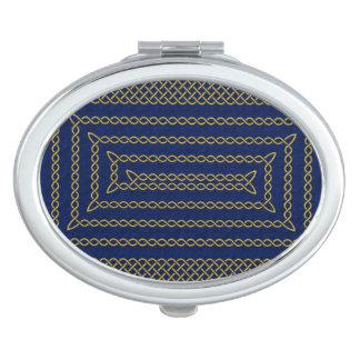 Gold And Blue Celtic Rectangular Spiral Vanity Mirror