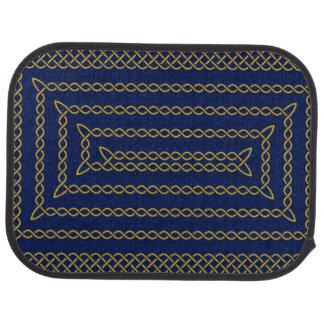 Gold And Blue Celtic Rectangular Spiral Floor Mat