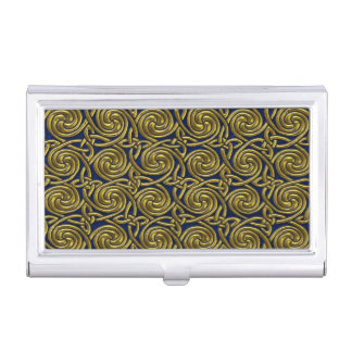 Gold And Blue Celtic Spiral Knots Pattern Business Card Holders