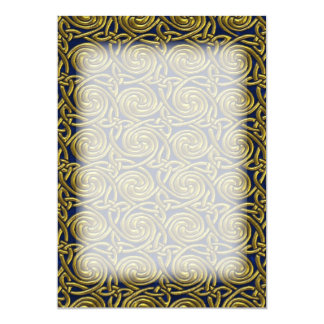Gold And Blue Celtic Spiral Knots Pattern Card