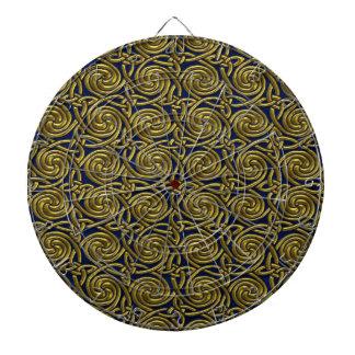 Gold And Blue Celtic Spiral Knots Pattern Dartboards