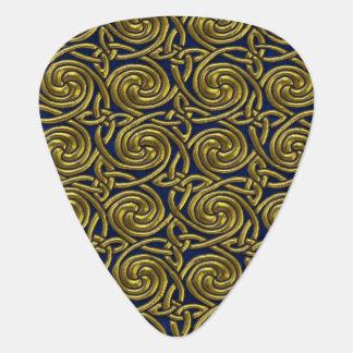 Gold And Blue Celtic Spiral Knots Pattern Pick
