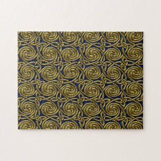 Gold And Blue Celtic Spiral Knots Pattern Jigsaw Puzzle