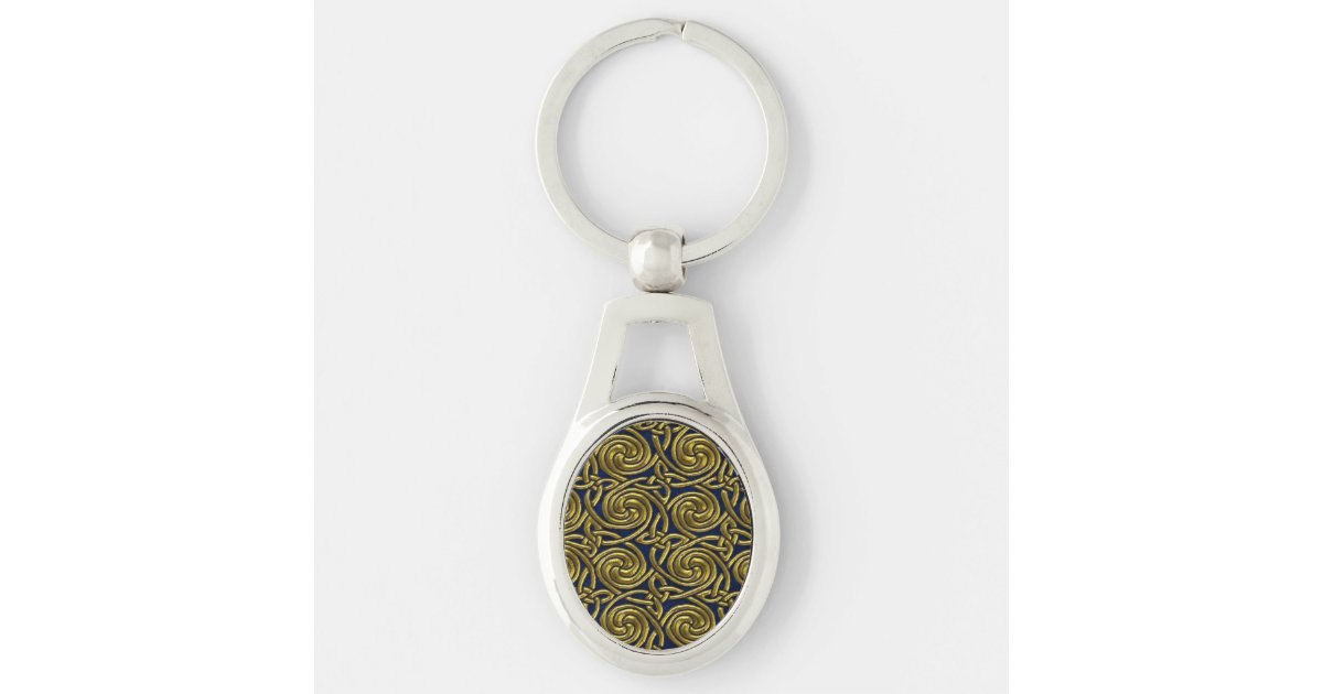 Gold And Blue Celtic Spiral Knots Pattern Keychain
