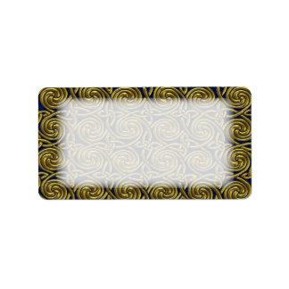 Gold And Blue Celtic Spiral Knots Pattern Label