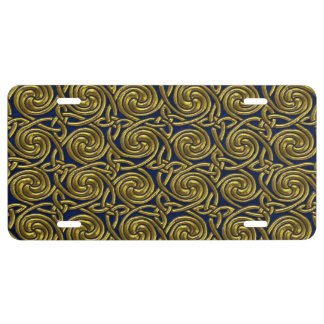 Gold And Blue Celtic Spiral Knots Pattern License Plate