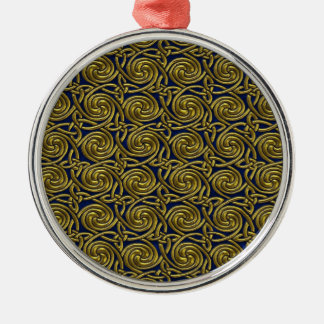 Gold And Blue Celtic Spiral Knots Pattern Metal Ornament