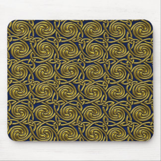 Gold And Blue Celtic Spiral Knots Pattern Mouse Pad