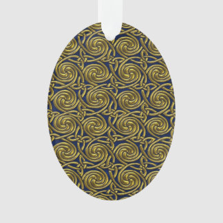 Gold And Blue Celtic Spiral Knots Pattern Ornament