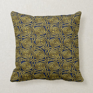 Gold And Blue Celtic Spiral Knots Pattern Pillow