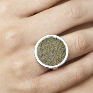 Gold And Blue Celtic Spiral Knots Pattern Ring