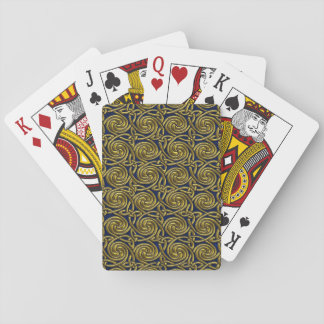 Gold And Blue Celtic Spiral Knots Pattern Playing Cards