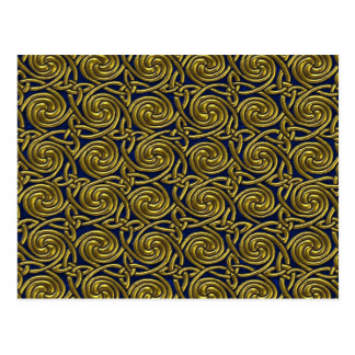 Gold And Blue Celtic Spiral Knots Pattern Postcard