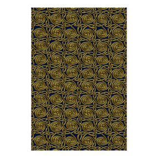 Gold And Blue Celtic Spiral Knots Pattern Poster