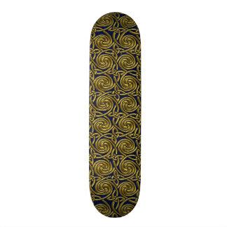 Gold And Blue Celtic Spiral Knots Pattern Skateboards