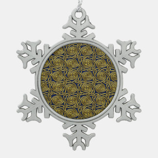Gold And Blue Celtic Spiral Knots Pattern Snowflake Pewter Christmas Ornament