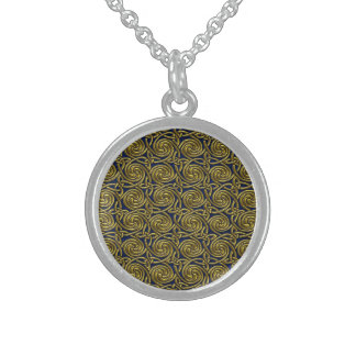Gold And Blue Celtic Spiral Knots Pattern Sterling Silver Necklace