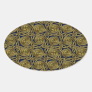 Gold And Blue Celtic Spiral Knots Pattern Oval Sticker
