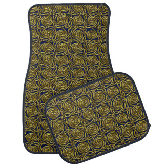 Gold And Blue Celtic Spiral Knots Pattern Car Mat