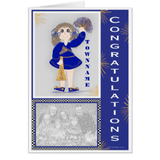 Gold and Blue Cheerleader Congratulations Card