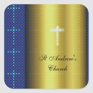 Gold and Blue Christian Crosses Sticker