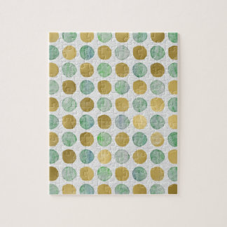 Gold and Blue Christmas Circles Jigsaw Puzzle