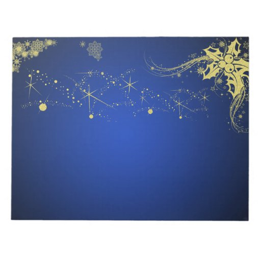 Gold and blue christmas scrapbooking paper pad memo note for Blue and gold christmas