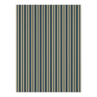 Gold and Blue Christmas Stripes Personalized Invitation