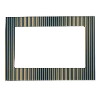 Gold and Blue Christmas Stripes Magnetic Photo Frames