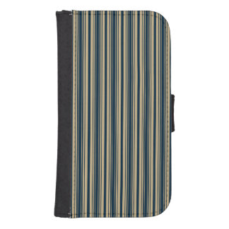 Gold and Blue Christmas Stripes Galaxy S4 Wallet