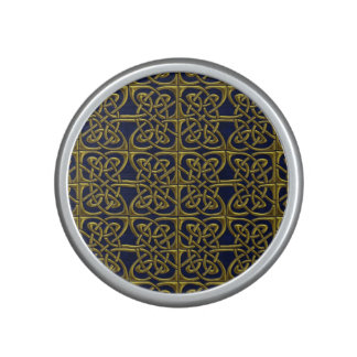 Gold And Blue Connected Ovals Celtic Pattern Bluetooth Speaker