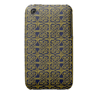 Gold And Blue Connected Ovals Celtic Pattern iPhone 3 Cover