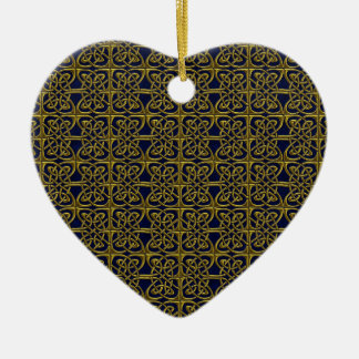Gold And Blue Connected Ovals Celtic Pattern Ceramic Ornament