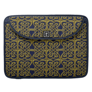 Gold And Blue Connected Ovals Celtic Pattern Sleeves For MacBooks