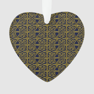 Gold And Blue Connected Ovals Celtic Pattern Ornament