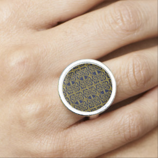 Gold And Blue Connected Ovals Celtic Pattern Ring