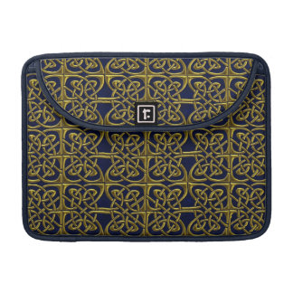 Gold And Blue Connected Ovals Celtic Pattern Sleeve For MacBook Pro