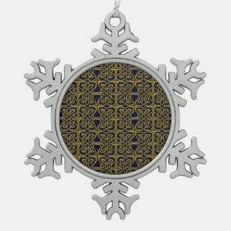 Gold And Blue Connected Ovals Celtic Pattern Snowflake Pewter Christmas Ornament