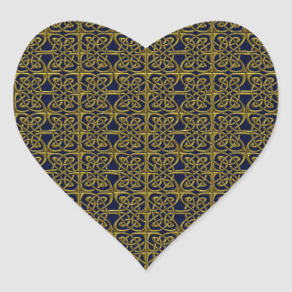 Gold And Blue Connected Ovals Celtic Pattern Stickers