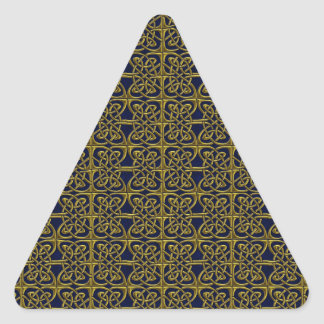 Gold And Blue Connected Ovals Celtic Pattern Triangle Sticker
