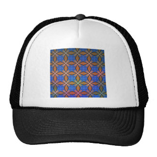 Gold And Blue Diamond Crosses Mesh Hats