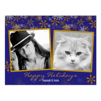 Gold and Blue Double Photo Christmas Postcard
