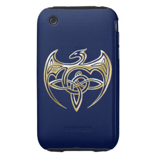 Gold And Blue Dragon Trine Celtic Knots Art Tough iPhone 3 Covers