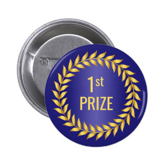 Gold and Blue First Prize Button