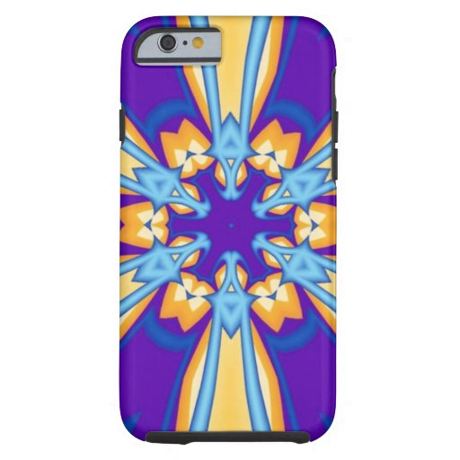 Gold and blue flower tough iPhone 6 case